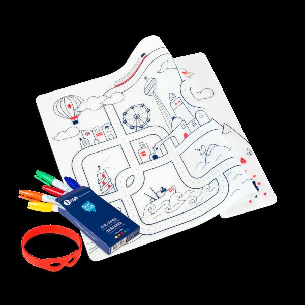 Super Petit Kit de silicona para colorear reutilizable ''Circuit''