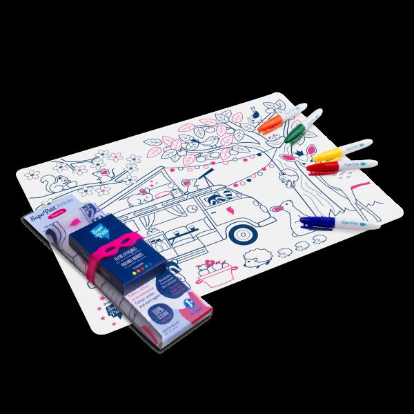 Super Petit Kit de silicona para colorear reutilizable ''Dream Van''
