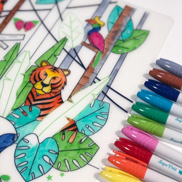 Super Petit Kit de silicona para colorear reutilizable ''Jungle''